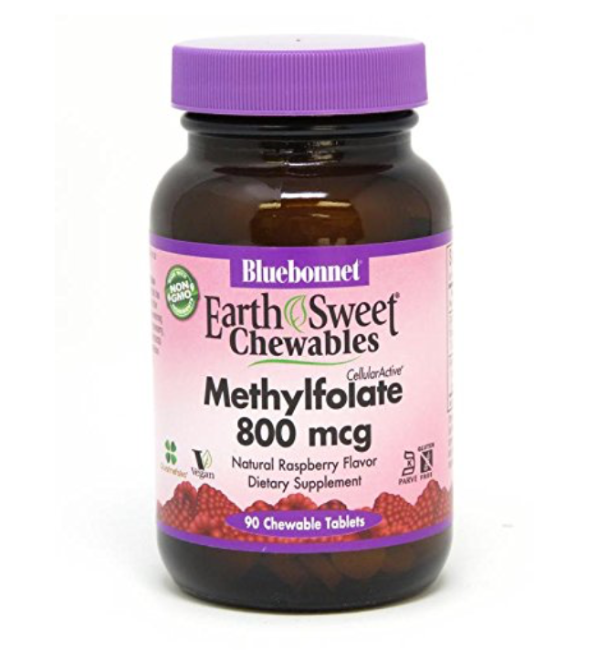 Bluebonnet Chewable Methylfolate 800 mcg - Safe for kids and all natural