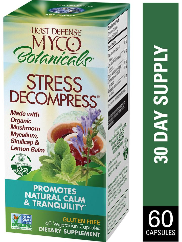 Myco Botanicals Stress Decompress Capsules 60 ct - Safe for kids and all natural