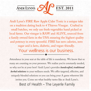 Andi Lynn's Fire Raw Apple Cider Tonic - Safe for kids and all natural