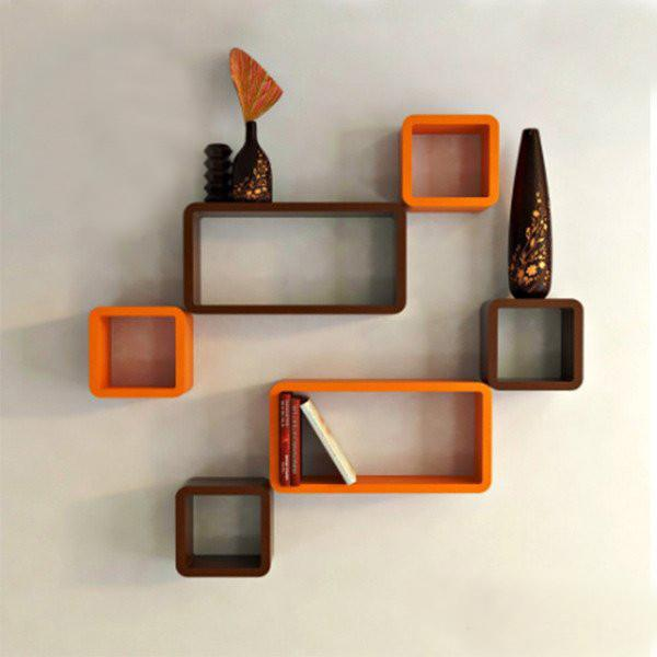 Wall Shelf Set of Six Cube Rectangle Designer Wall Rack Shelves - Orange and Brown