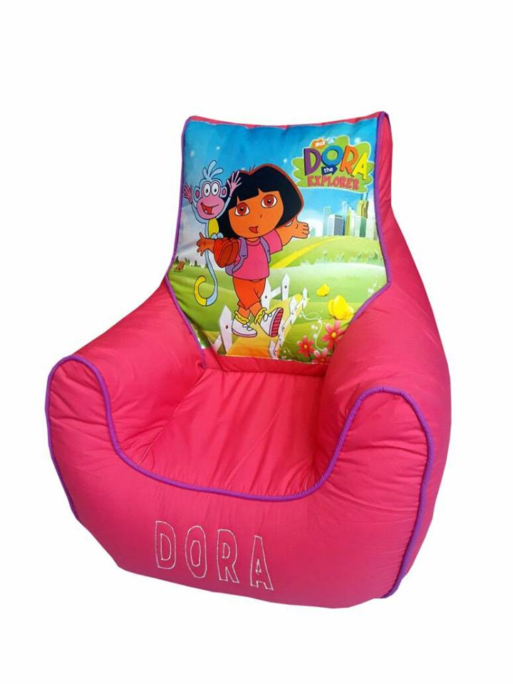 Dora Pink Kids Bean Bag Sofa