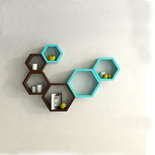 Hexagon Shape Wall Shelf Set of 6- Maroon and skyblue