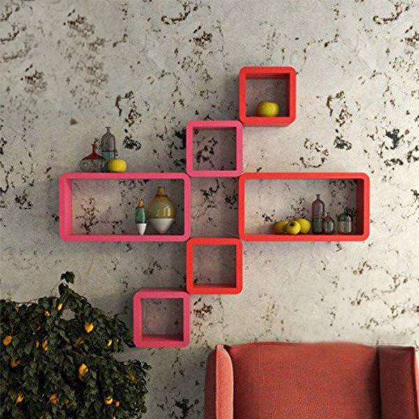 Wall Shelf Set of Six Cube Rectangle Designer Wall Rack Shelves - Pink and Red