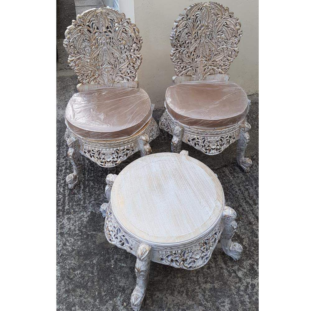 White and Gold Chanioti Chairs and Table Set