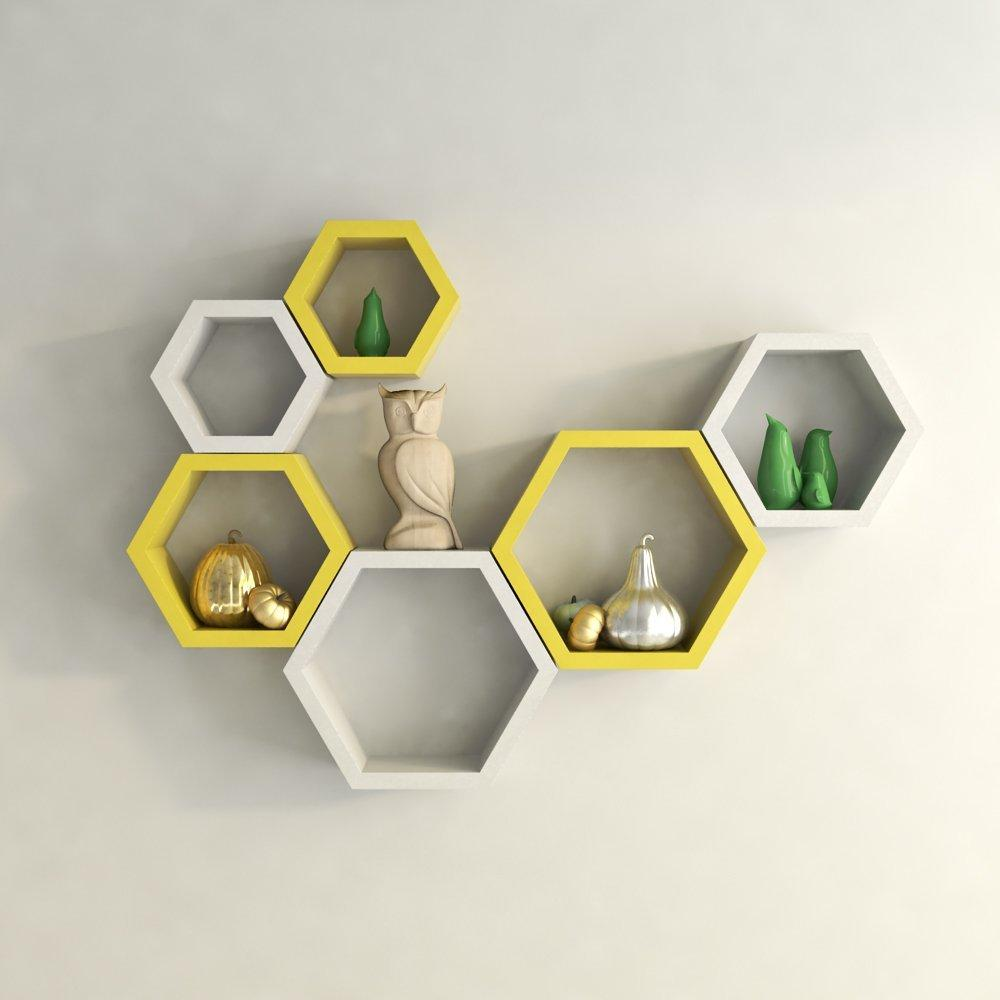Hexagon Shape Wall Shelf Set of 6- Yellow and White
