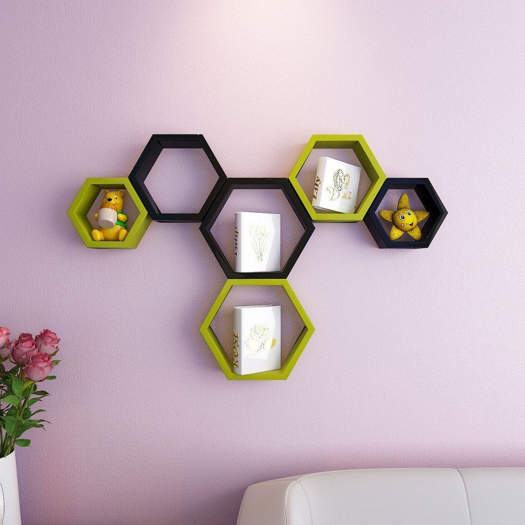 Hexagon Shape Wall Shelf Set of 6- Yellow brown and black