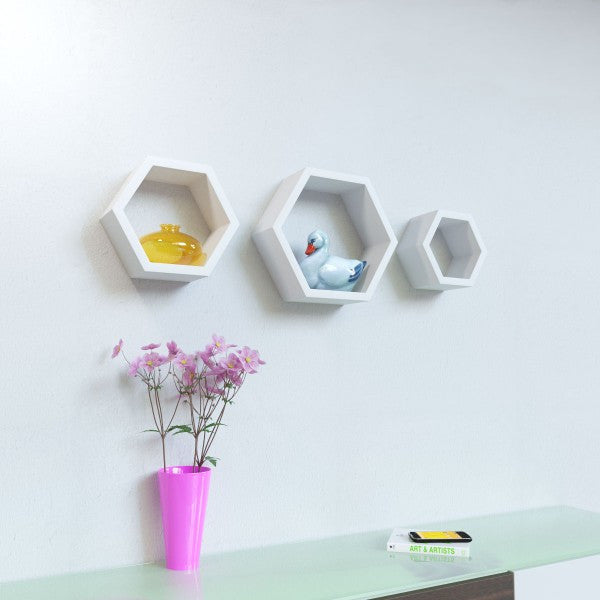 Set of three Hexagon Shelf - Multicolor