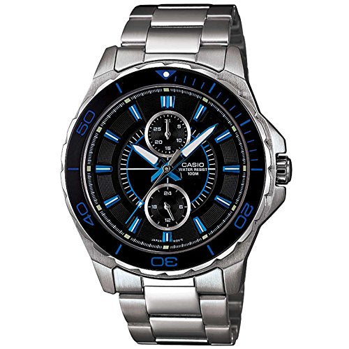 Casio #MTD1077D-1A1V Men's Stainless Steel Analog Multi Function Black Dial Watch