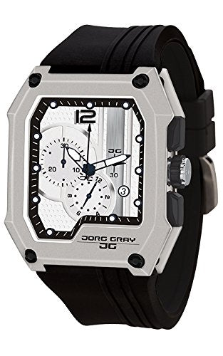 Jorg Gray JG7100-22 Men's Watch Chronograph Integrated Silicone Strap Silver Dia
