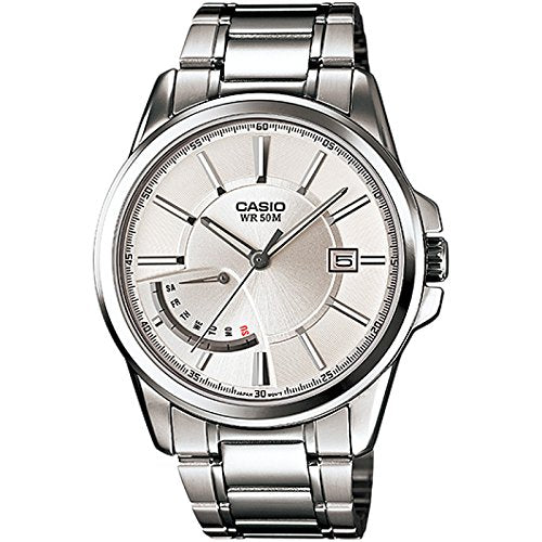 Casio #MTP-E102D-7AV Men's Standard Analog Metal Band Retrograde Day Date Watch