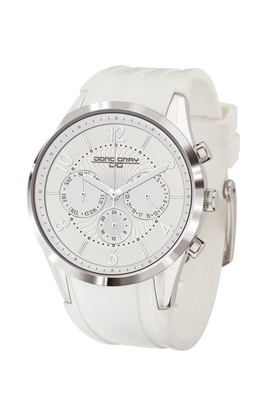 Jorg Gray JG1500-22 White Silver Patterned Multi Function Rubber Womens Watch