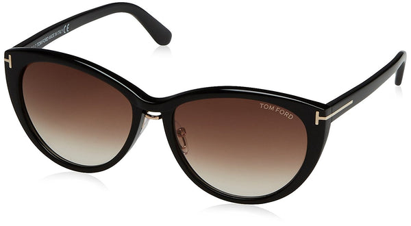 Tom Ford Sunglasses TF 345 Gina 01B Shiny Black 57mm