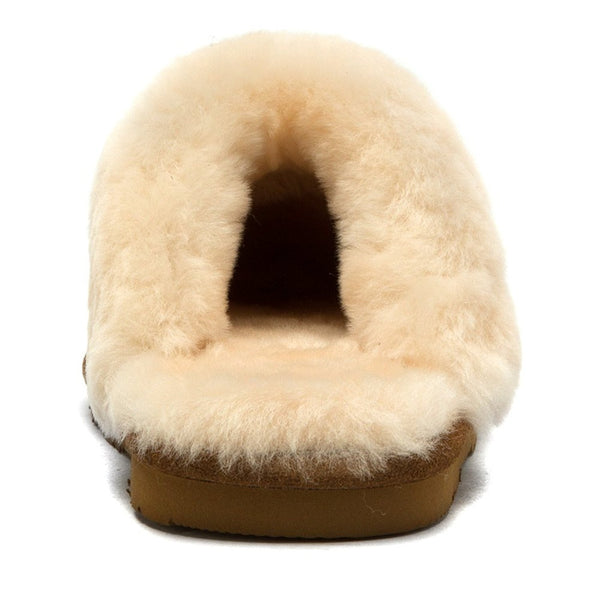 Bearpaw Women's Loki Slippers, Gold Suede, Sheepskin Fur, 6 M