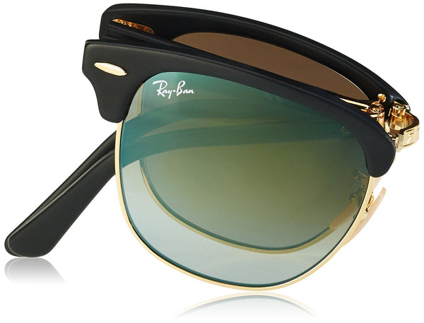 Ray-Ban Clubmaster Folding Sunglasses (RB2176) Black Matte/Green Acetate - Non-P