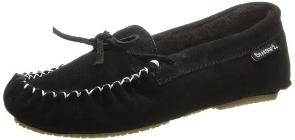 BEARPAW Women's Ashlyn Slip-On Loafer, Black, 7 M US