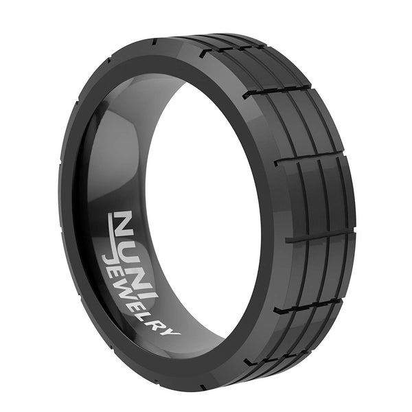 Tungsten Ring By Nuni Jewelry: Elegant Wedding Band Black Plated Grooved top–Tungsten Carbide 8mm Wedding Band For Men And Women–Comes In A Protective Velvet Pouch