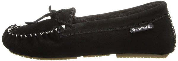 BEARPAW Women's Ashlyn Slip-On Loafer, Black, 10 M US
