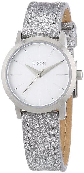 Nixon A398-1878 Ladies The Kenzi Leather Silver Shimmer Watch