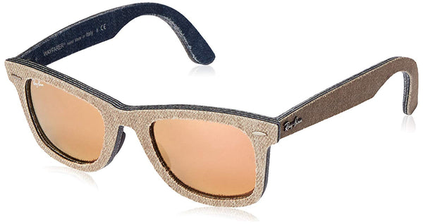 Ray-Ban WAYFARER - JEANS GREEN BROWN/JEANS Frame LIGHT BROWN MIRROR PINK Lenses 50mm Non-Polarized