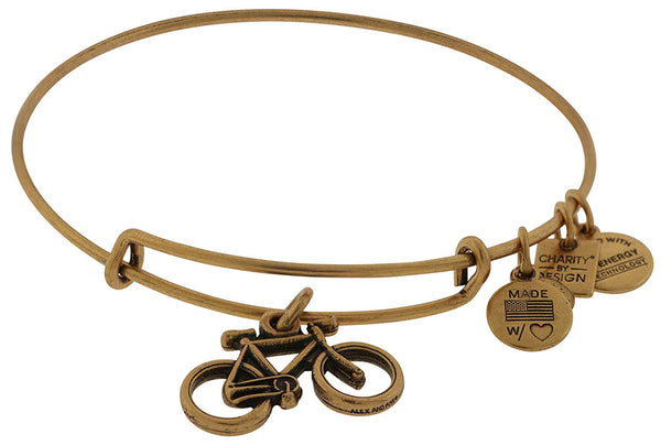 Alex and Ani Women's Charity by Design Bike Charm Bangle Rafaelian Gold Finish Bracelet