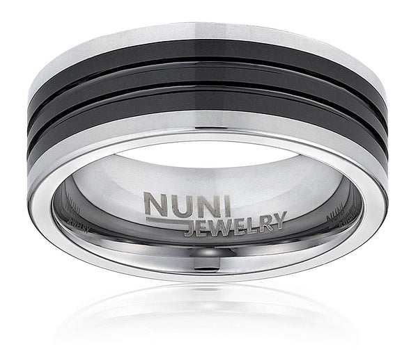 Tungsten Ring By Nuni Jewelry: Elegant Wedding Band With Black Center Double Grooved Strips–Tungsten Carbide 8mm Wedding Band For Men And Women–Comes In A Protective Velvet Pouch