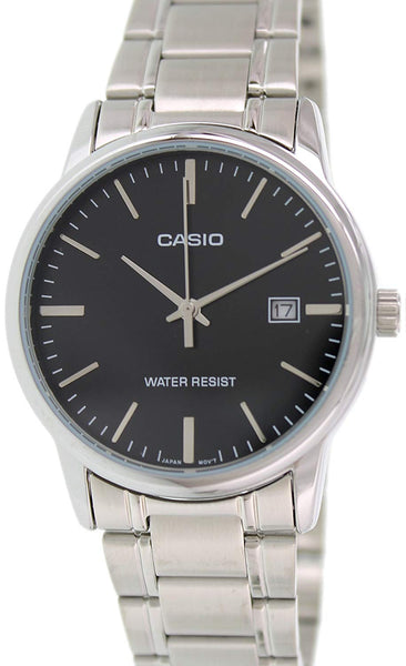 Casio #MTP-V002D-1A Men's Standard Analog Stainless Steel Date Black Dial Watch