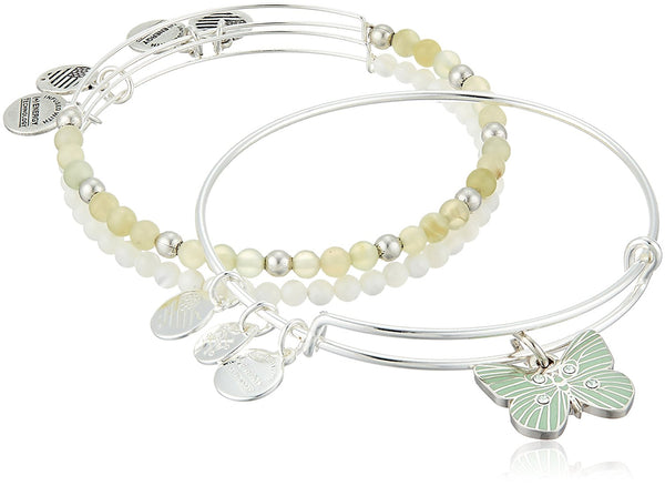 Alex and Ani Butterfly Set of 3 Rafaelian Silver Bangle Bracelet