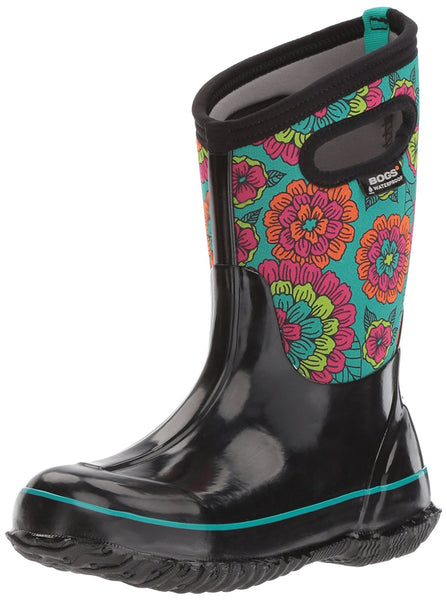 Bogs Kids Classic High Waterproof Insulated Rubber Neoprene Snow Boot, Pansies Print/Black/Multi, Multi 11 M US Little Kid