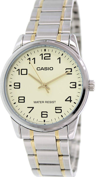 Casio #MTP-V001SG-9B Men's Standard Two Tone Stainless Steel Easy Reader Watch