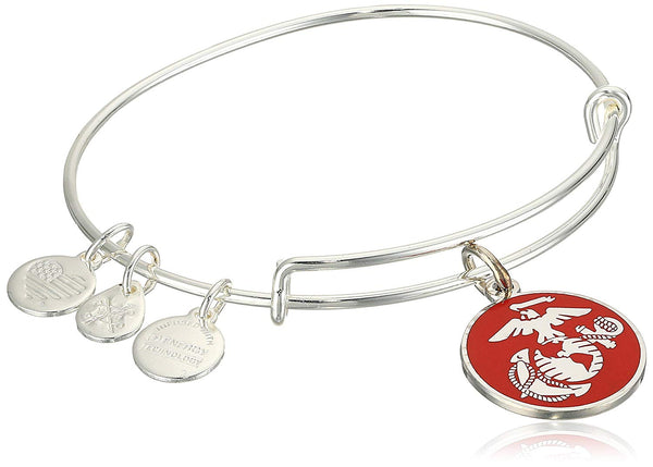 Alex and Ani Armed Forces US Marine Corps, Expandable Wire Bangle Charm Bracelet