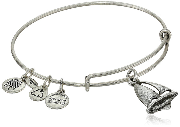 "Alex and Ani ""Bangle Bar"" Sailboat Expandable Wire Bangle Bracelet, 7.75"""