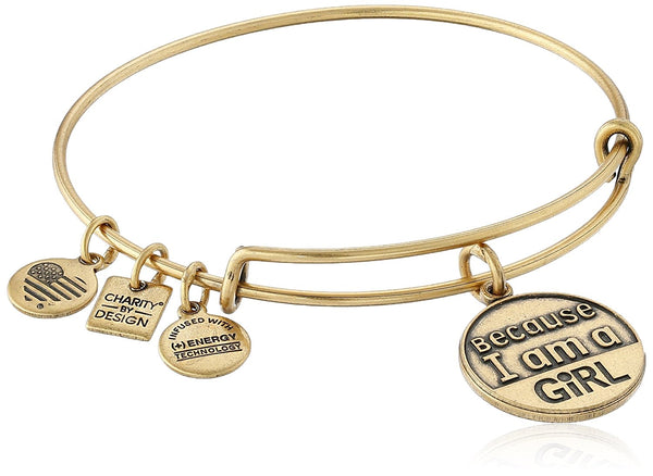 "Alex and Ani Charity by Design ""Because I Am A Girl"" Rafaelian Finish Expandable Bangle Bracelet"