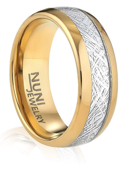 Tungsten Ring By Nuni Jewelry: Elegant Wedding Band Gold Plated Simulated Meteorite–Tungsten Carbide 8mm Wedding Band For Men And Women–Comes In A Protective VelvetPouch