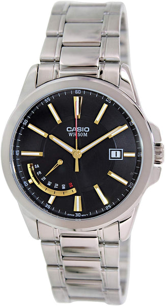 Casio #MTP-E102D-1AV Men's Standard Analog Metal Band Retrograde Day Date Watch
