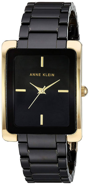 Anne Klein Black and Goldtone Ceramic Bracelet Watch