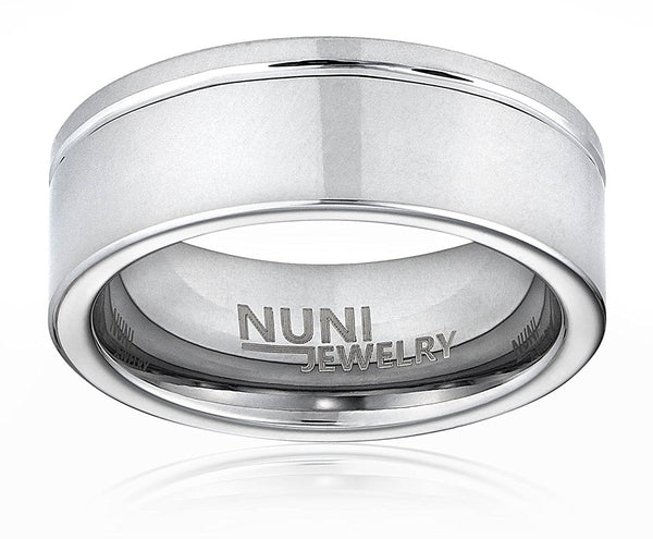 Nuni Jewelry ZION VL25 Tungsten 8mm Men's Ring Brushed Center Polished Edge Grooved Shoulder Design Wedding Band Comfort Fit