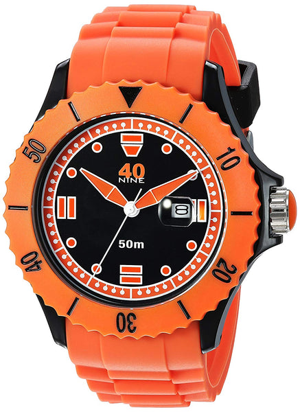 40Nine Men's Quartz Plastic and Silicone Casual Watch, Color:Orange (Model: 40NINE01/ORANGE20)