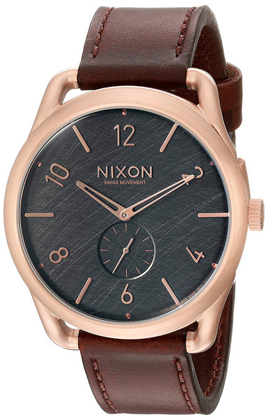 Nixon Men's A4651890 C45 Leather Analog Display Swiss Quartz Brown Watch