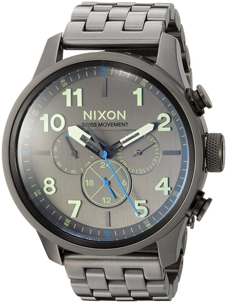 Nixon Men's 'Safari Dual Time' Swiss Quartz Stainless Steel Casual Watch, Color:Grey (Model: A10811418-00)