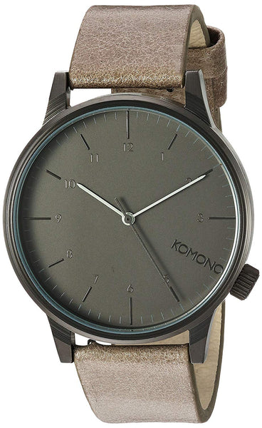 KOMONO 'Winston Regal' Quartz Stainless Steel and Leather Dress Watch, Color:Grey (Model: KOM-W2256)