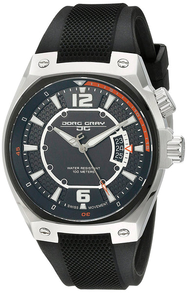 Jorg Gray Men's JG8300-13 Analog Display Quartz Black Watch