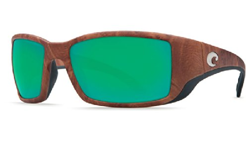 Costa Del Mar Blackfin Sunglasses, Gunstock, Green Mirror 580 Glass Lens