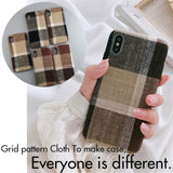 SoCouple Cloth Texture Soft case For iphone 7 Case For iphone 6 6s 7 8 plus X Xs max XR Thin Canvas Grid Pattern Phone Cases