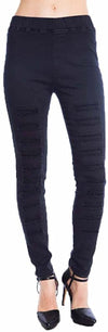 Umgee Womens Black Denim Pants with Ripped Details Black