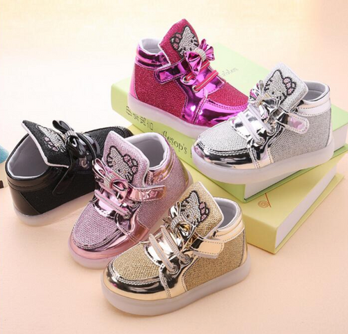 LED Rhinestone Kitty Princess Shoes