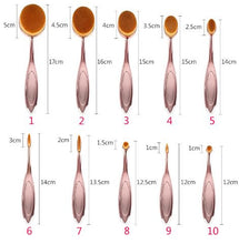 Rose Gold Oval Makeup Brushes - 10pcs