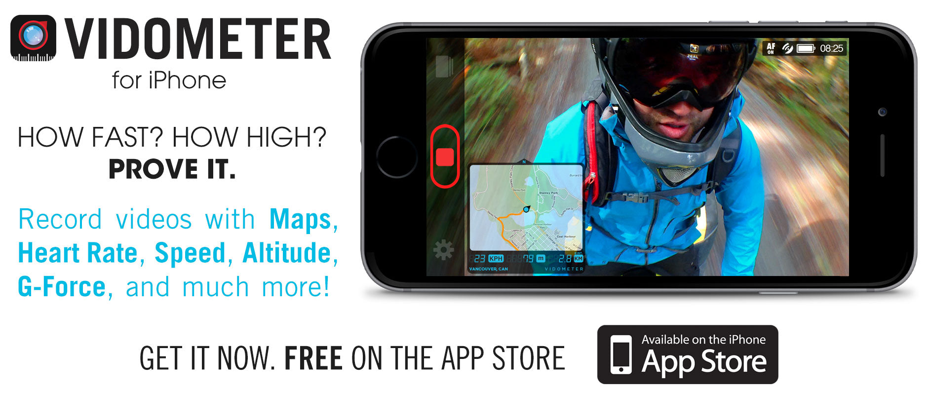 Vidometer App for iPhone. Overlay Maps, Heart Rate, Speed, Altitude, G-Force, Compass, and more onto your videos in real time