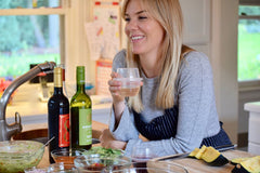 Jessica Bell in the kitchen with her HaloVino wine tumbler.