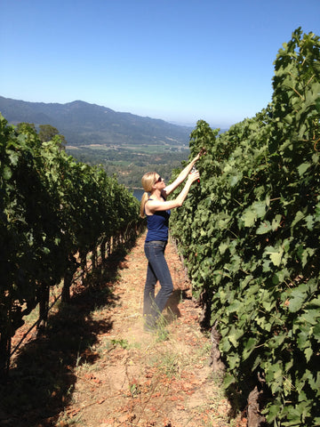 Jessica Bell, founder and inventor of HaloVino, pruning vineyards at Quintessa in Napa.