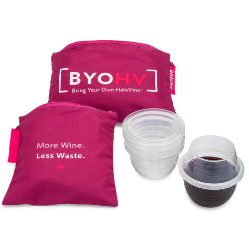 A small and large HaloTote next to a built HaloVino wine tumblers and a stack of tumblers.